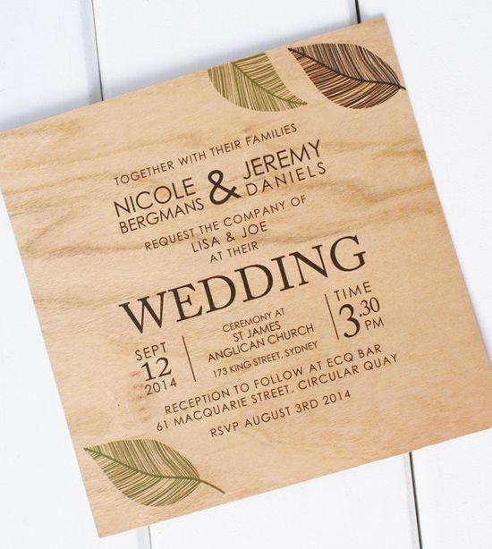 Undangan pernikahan vintage kayu daun