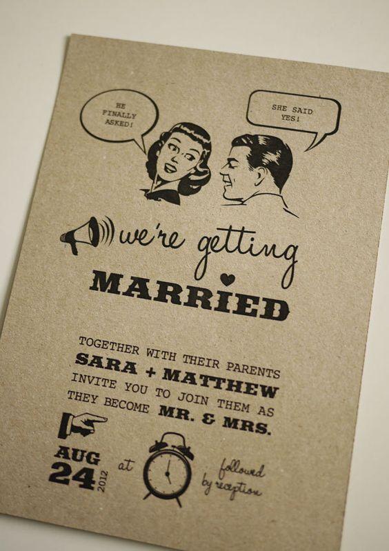 Undangan pernikahan vintage retro