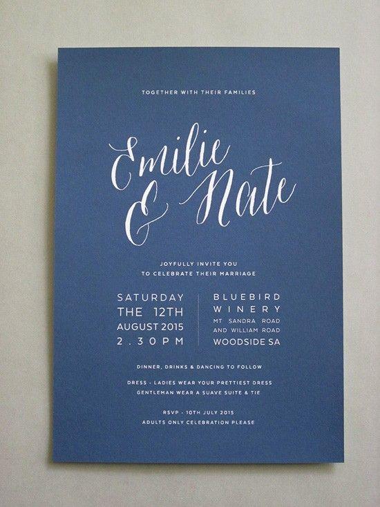 Undangan pernikahan simple warna biru