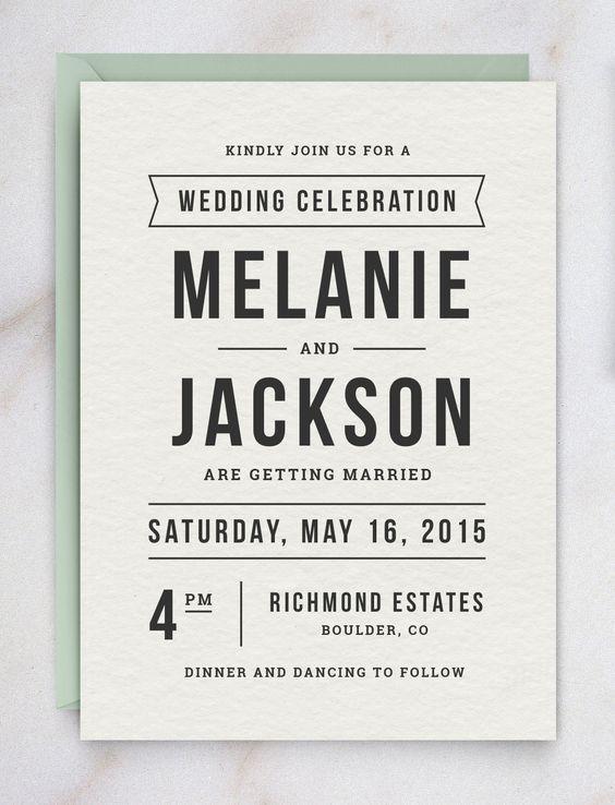 Undangan pernikahan simple hitam putih